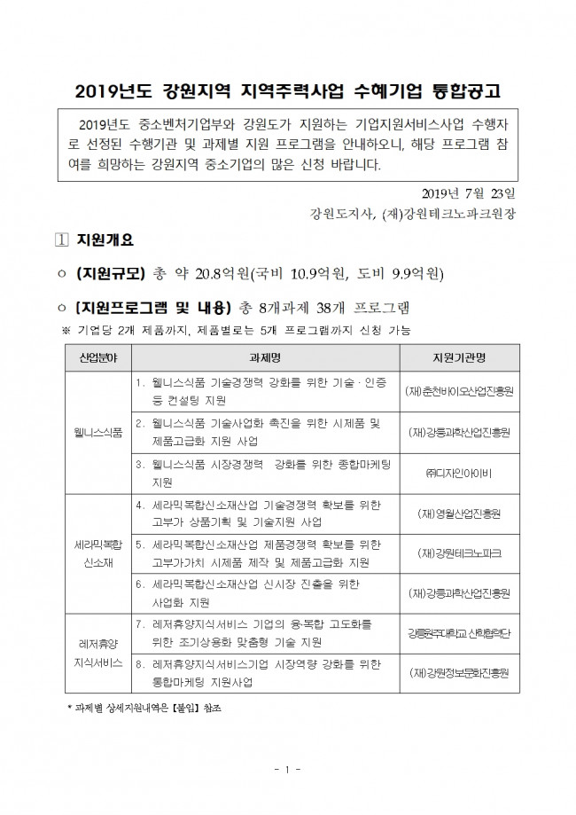 2019년도 강원지역 지역주력사업 수혜기업모집 통합공고001.jpg